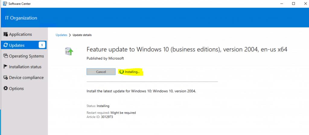Installing Windows 10 Servicing