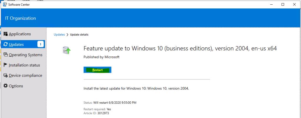 Upgrade to Windows 10 2004 Using SCCM | ConfigMgr | Servicing 2