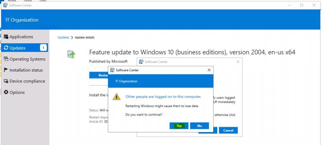 Upgrade to Windows 10 2004 Using SCCM | ConfigMgr | Servicing 4