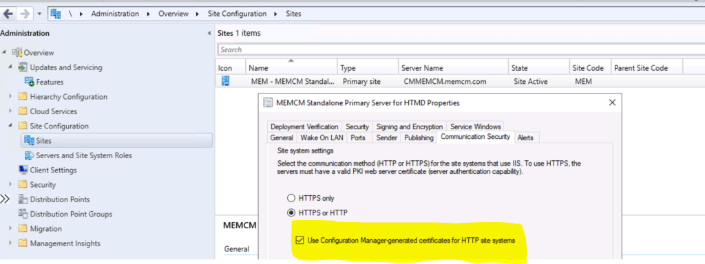 Use Configuration Manager generated certificates for HTTP site systems - ConfigMgr Sites that don't have Proper HTTPS Configuration Issue