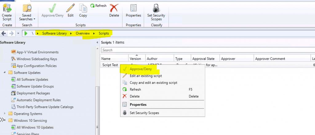 FIX SCCM Script Approve Deny Button is Disabled - ConfigMgr