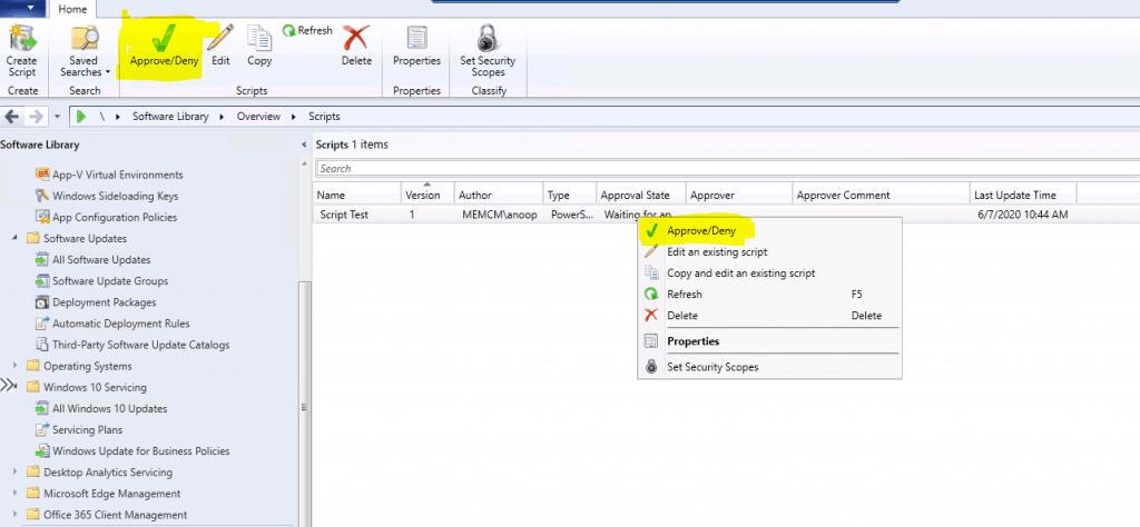 Fix SCCM Script Approve Deny Button is Disabled ConfigMgr