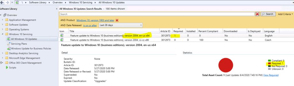 Upgrade to Windows 10 2004 Using SCCM