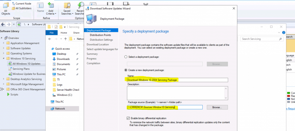 Create a new deployment package SCCM - ConfigMgr for Windows 10 2004