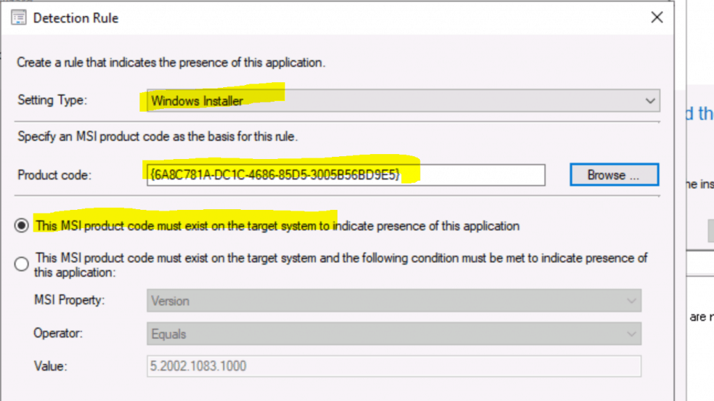 Create a SCCM Detection Rule