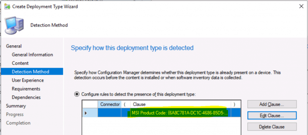 Deployment type detection method for SCCM admin console