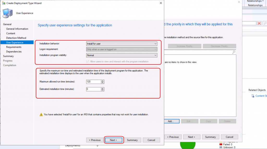 Specify User Experience settings for the application ConfigMgr SCCM