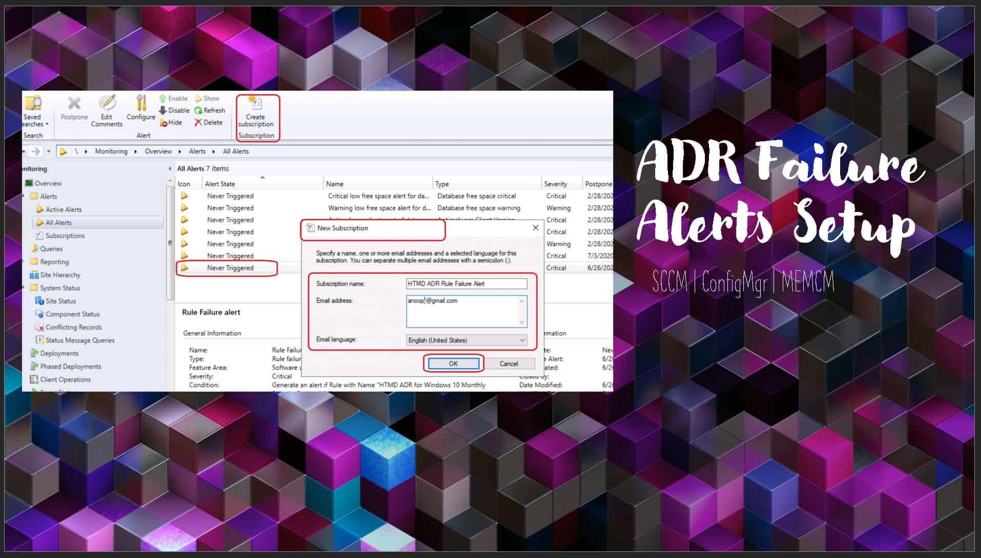 SCCM ADR Failure Alerts Setup Using ConfigMgr Subscriptions ConfigMgr