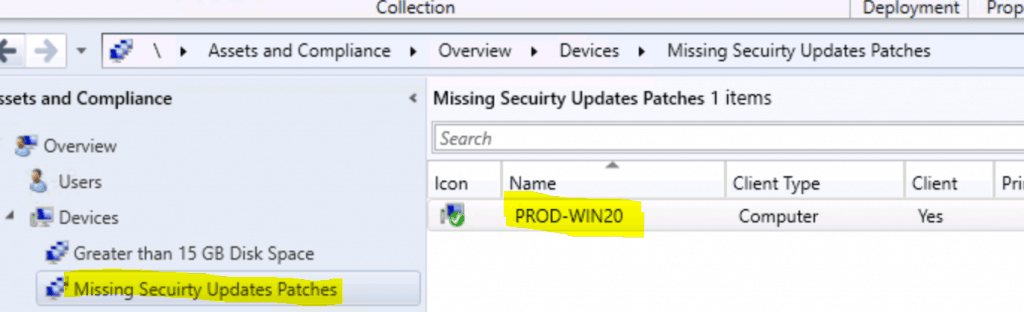Missing Security Updates Patches SCCM Collection