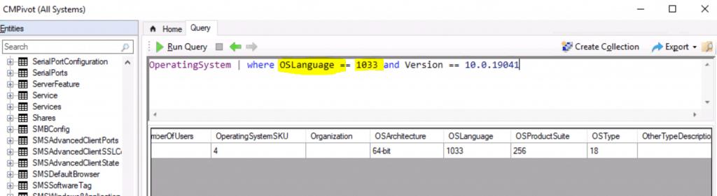 CMPivot Query for Windows 10 English Language Devices