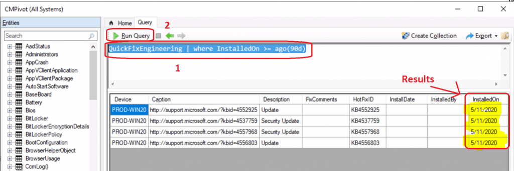 SCCM CMPivot Query Patches Installed in Last 90 Days | ConfigMgr