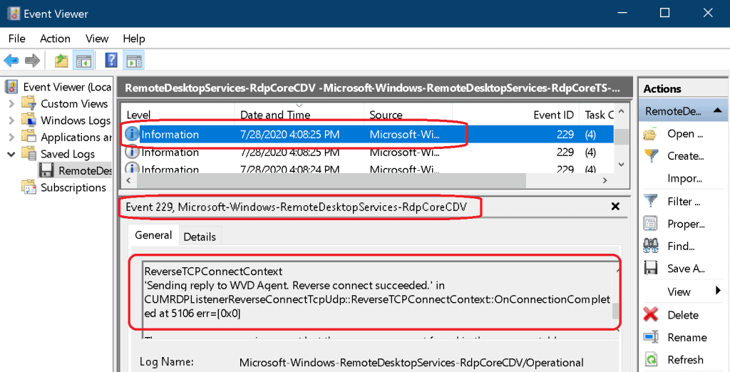 WVD Event Logs RDP Listener Reverse Connect Tcp Udp Windows 10
