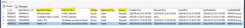 SCCM Application Deployment Custom Report SQL Query