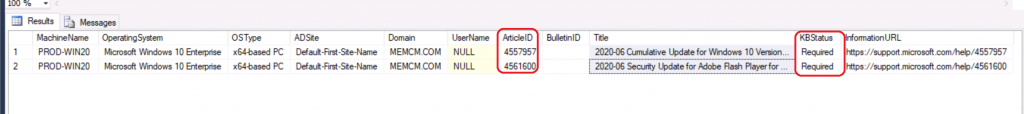 SCCM Patch Status SQL Query Based on Particular Collection   ConfigMgr