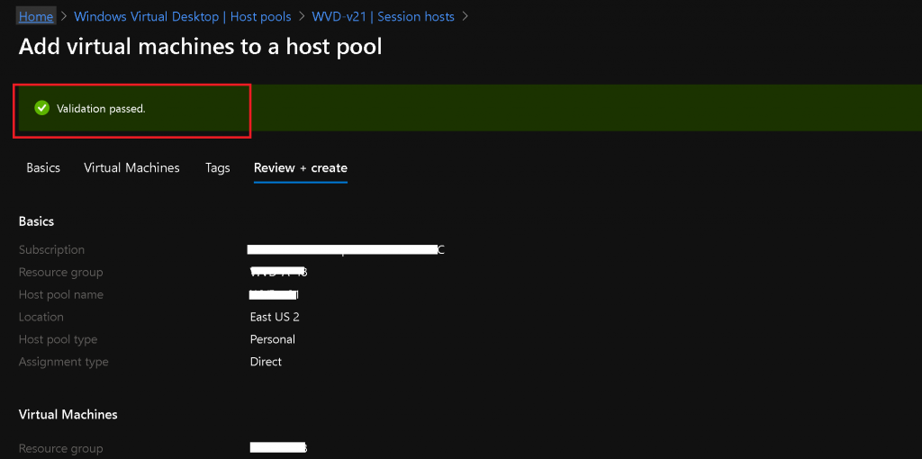 WVD v2 Deployment Operation Failed | Add New VMs to Existing Host Pool 5