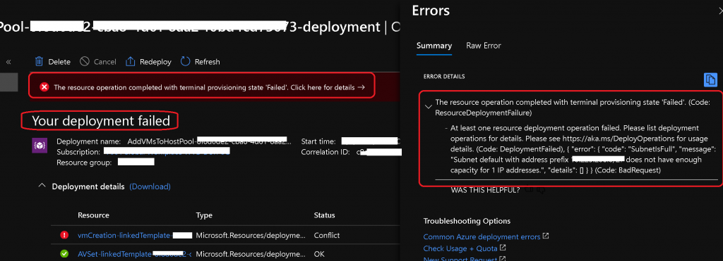 WVD v2 Deployment Operation Failed | Add New VMs to Existing Host Pool 6