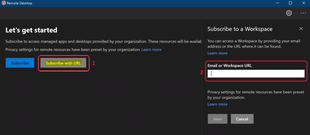 Windows Virtual Desktop RD Client Subscription Options for WVD v1 v2