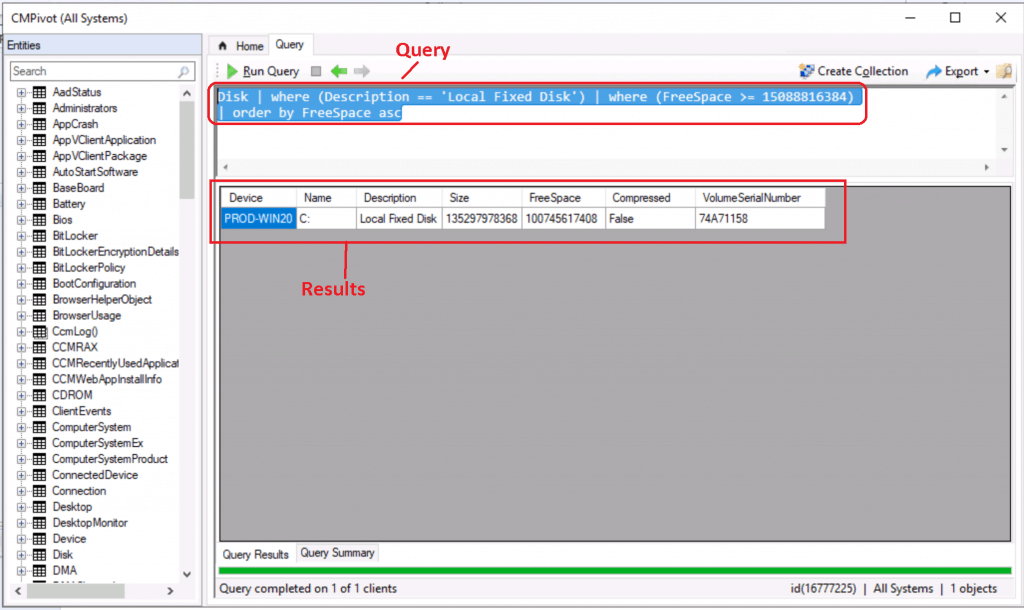 SCCM CMPivot Query Devices with Greater than 15 GB Free Disk Space 1