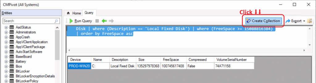 ConfigMgr CMPivot Query Devices with Greater than 15 GB Free Disk Space