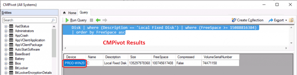 SCCM CMPivot Query Devices with Greater than 15 GB Free Disk Space 2