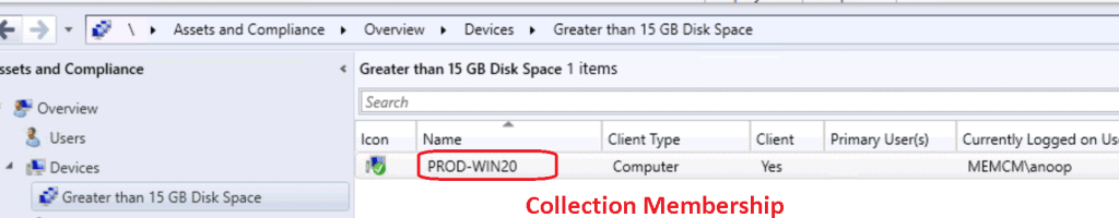 SCCM CMPivot Query Devices with Greater than 15 GB Free Disk Space 3