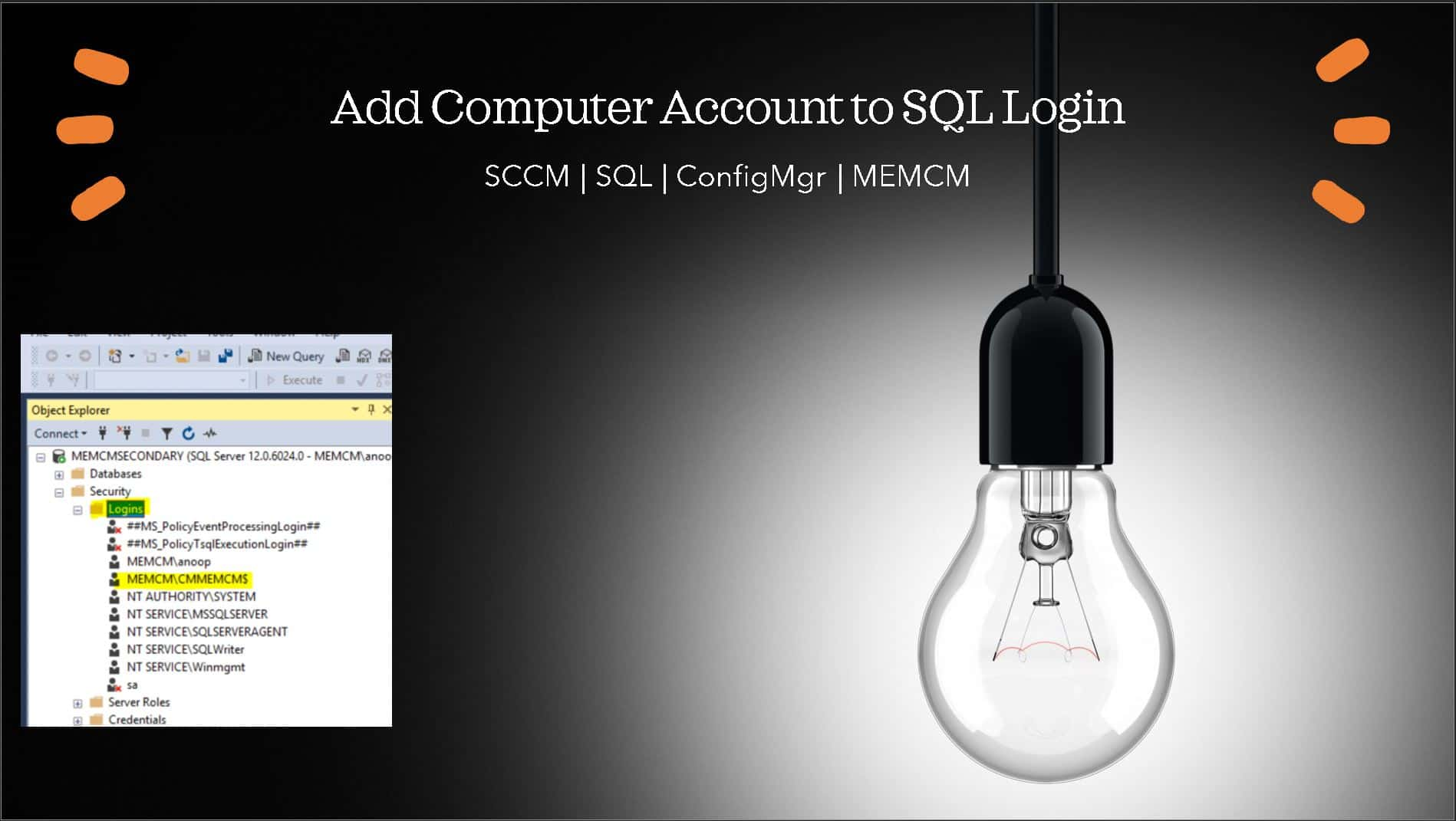 Add ConfigMgr Server Computer Account to SQL Login Sys Admin Access