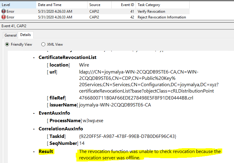Intune SCEP Errors - HTTP Error 500 - CAPI2 Looging - Unable to retrieve CRL from CDP - Revocation server was offline