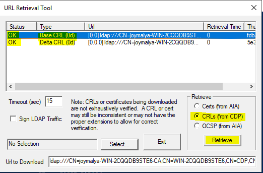 Intune SCEP Errors - HTTP Error 500 - Check if CRL is retriveable using CertUtil tool