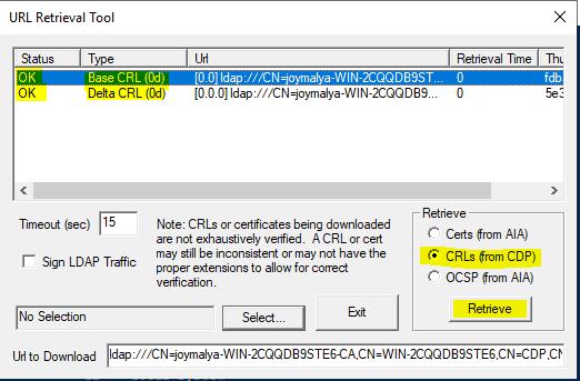 Intune SCEP Errors - HTTP Error 500 - Check if CRL is retriveable using CertUtil tool