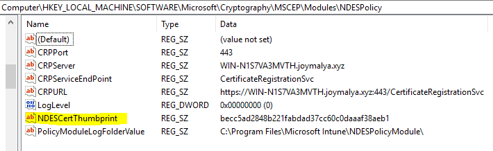 Intune SCEP HTTP Error 503 - IIS SSL Binding Cert thumbprint must match with the NDES Policy Module Cert thumbprint