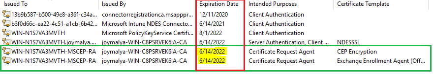 Intune SCEP HTTP Error - Ensure the MSCEP RA Certificates (CEP Encryption and Exchange Enrollment Agent) are not in expired state.