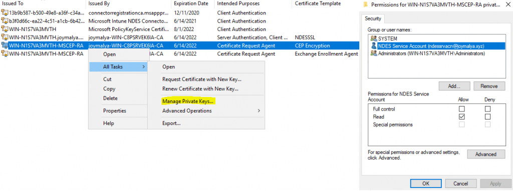 Intune SCEP HTTP Error - NDES Service Account must have Read permission for the MSCEP RA Cert private keys (Both CEP Encryption and Exchange Enrollment Agent)