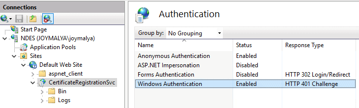 Intune SCEP Error - HTTP Error 500 - CertiticateRegistrationSvc [CRP] in IIS has Windows Authentication Enabled?