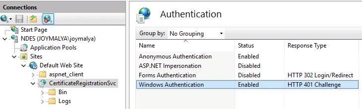 Intune SCEP Error - HTTP Error 500 - CertiticateRegistrationSvc [CRP] in IIS has Windows Authentication Enabled?
