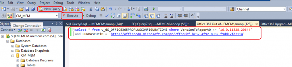 SCCM Custom Report Out of Support Versions of Office 365 Semi-Annual Channel