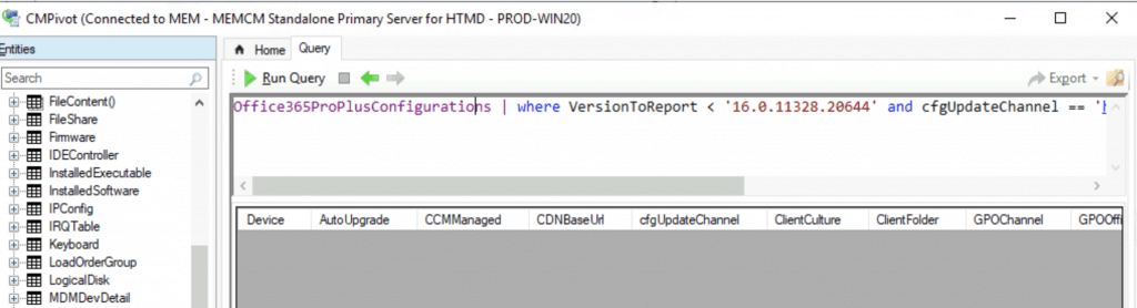 ConfigMgr CMPivot Query for Out of Support Office 365 ProPlus