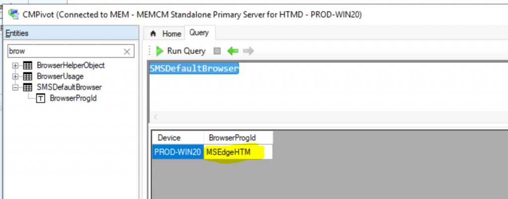 SCCM CMPivot Browser Related Queries Default List of Browsers