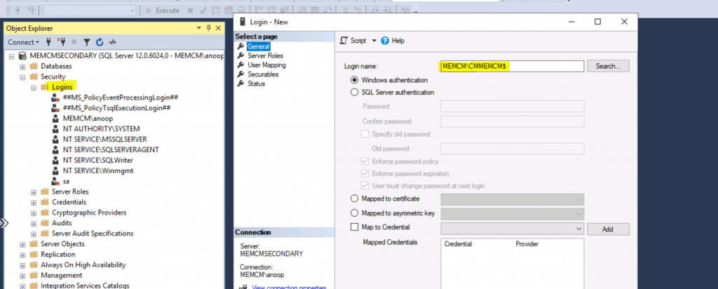 Add SCCM Server Computer Account to SQL Login Sys Admin Access