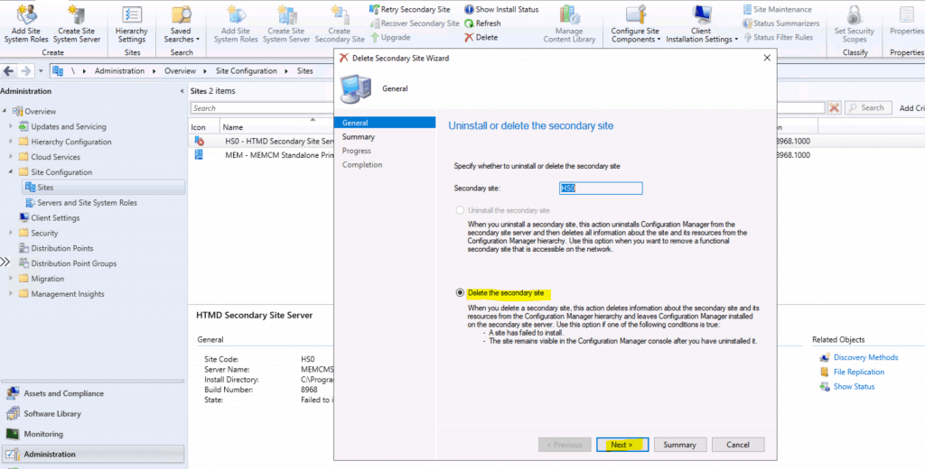 Uninstall or Delete or Remove SCCM Secondary Site | ConfigMgr