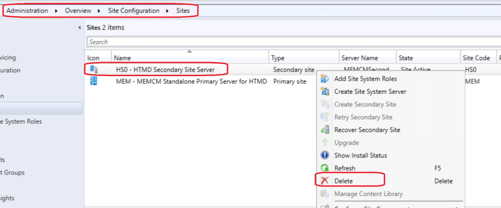 Uninstall or Delete or Remove SCCM Secondary Site | ConfigMgr 1