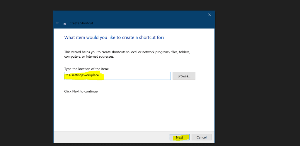 Shortcut for Access work or school Accounts | Windows 10 Settings Apps 1