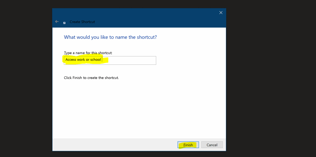 Shortcut for Access work or school Accounts | Windows 10 Settings Apps 2