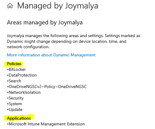 Windows 10 MDM Log - Verify the applied policies from the overview of Work Account
