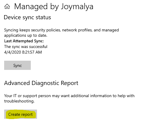 Windows 10 MDM Log - Generate a simple MDM Diagnostic report from within the Work Account