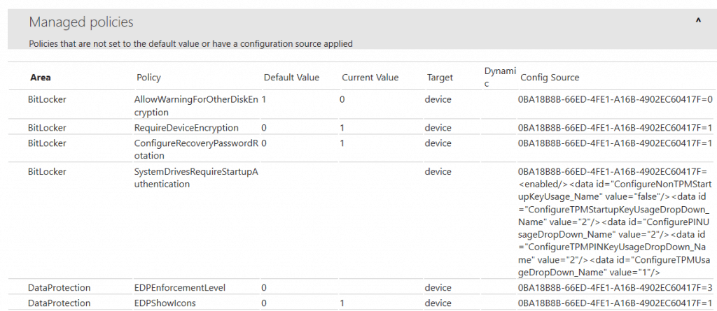 Windows 10 MDM Log - Reviewing the MDMDiagReport.html as generated - Validate the Current Value property to chrck if the value matches to what has been set in the portal.