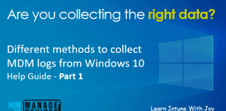 Different ways of collecting MDM logs from Windows 10