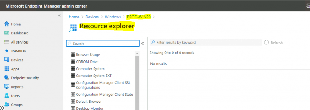 Enable SCCM Resource Explorer from Intune Portal | ConfigMgr