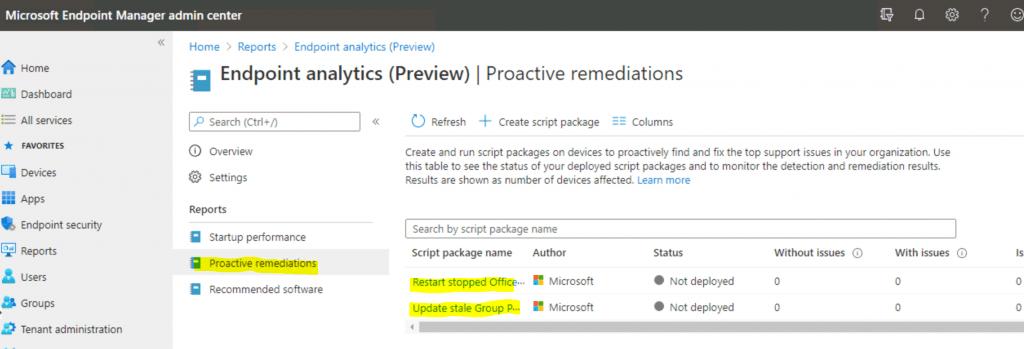 Deploy Proactive Remediation Script Packages | Built-in | SCCM