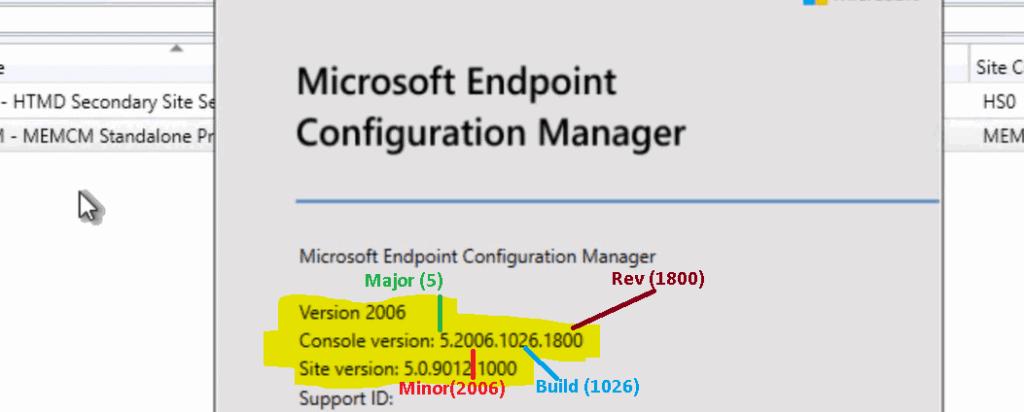 ConfigMgr Version Numbers | Major Minor Build Rev of SCCM