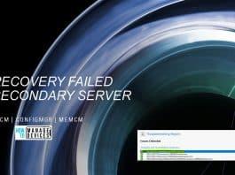 Secondary Server Recovery Failed